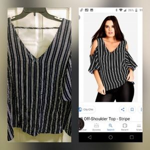 City Chic Navy/White Stripes cold shoulder blouse